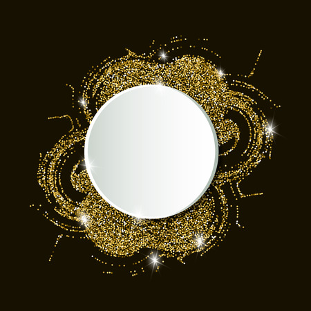 A background pattern with a glitter effect and a white round banner. Background with a place for text on a golden sand.