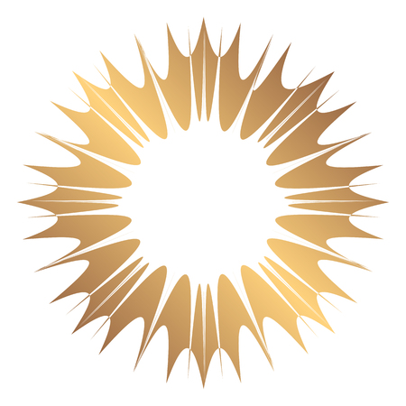 whirling: Abstract wide round gold frame. Template for creating icons, logos. Grunge element for the design of posters and flyers. Illustration