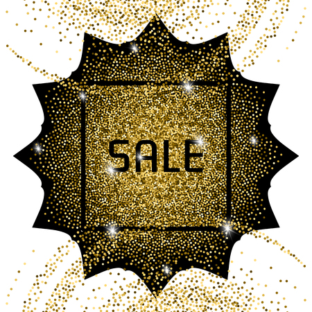 scattering: Golden banner with a black frame and the inscription: sale. Background for a poster or flyer with a glitter effect.