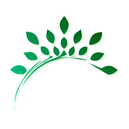 Template for creating a logo in the form of a stylized branch with leaves. Eco style icon. Semicircular dynamic simple element.