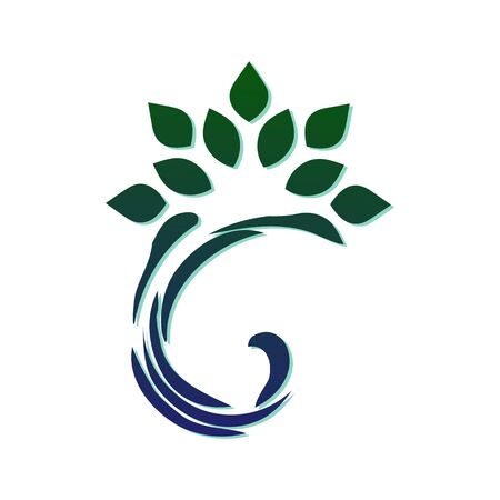 Template for creating a logo in the form of a stylized leaf with a curl. Eco style icon. Semicircular dynamic simple element. Illustration