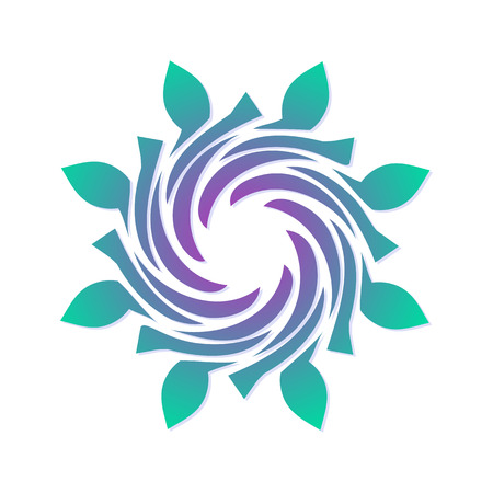 whirling: Template for creating a logo in the form of a curl. Eco style icon. Round dynamic simple element. Illustration