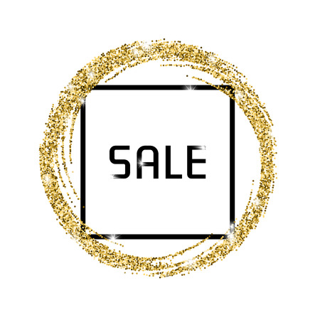 scattering: Gold glitter banner with a black frame and the inscription: Sale. Illustration