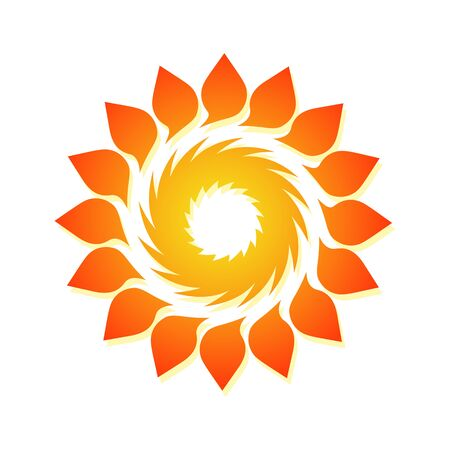 Template for creating a logo in the form of a curl. Stylized sun icon. Round dynamic simple element.