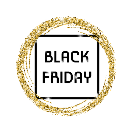 scattering: Gold glitter banner with a black frame and the inscription: Black Friday.