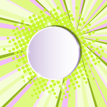 Template for a poster with a round white banner on a retro style for advertising promotions and discounts. Material design pink green background.