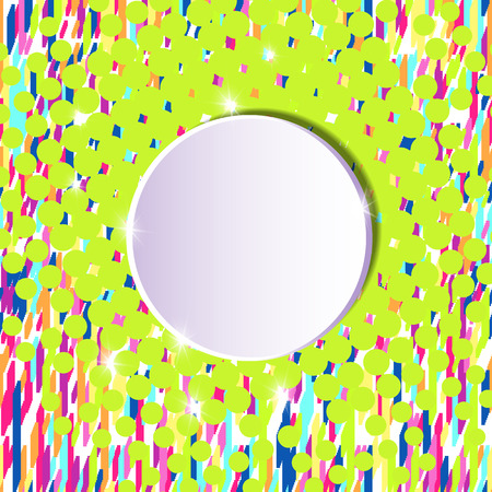 Template for a poster with a round white banner on a retro style for advertising promotions and discounts. Material design background.