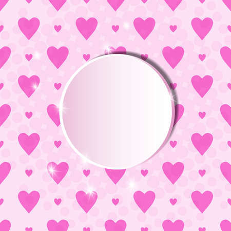Template for a poster with a round zone for text on a pink background with hearts. Valentines day pattern for congratulation or packing. Wedding background.