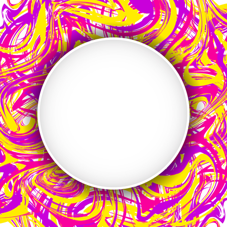 Template for a poster with a round zone for text on an abstract background with the effect of a tie dye. Marbling square leaflet with space for text. Illustration