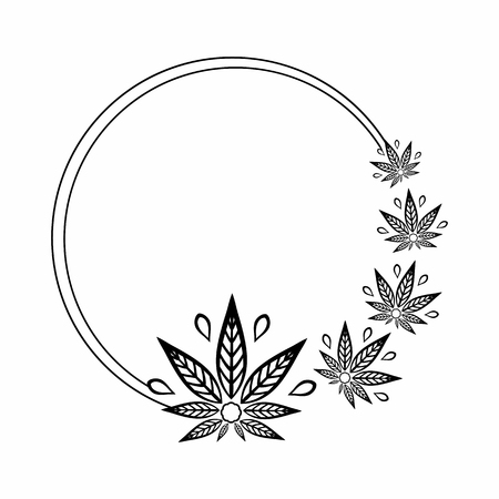 Noir rond et cadre blanc de stylisé feuille de cannabis. Banque d'images - 81569317