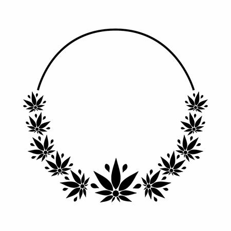 Un cadre rond noir et blanc représentant une silhouette stylisée de feuilles de cannabis. Banque d'images - 81569318