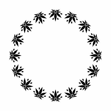 Un cadre rond noir et blanc représentant une silhouette stylisée de feuilles de cannabis. Banque d'images - 81569320