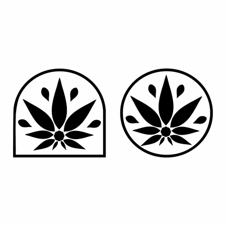applied: Cannabis logo. Hemp Line icons. Stylized leaf cannabis. Sign T-shirts for design, creating corporate identity and promotional products.
