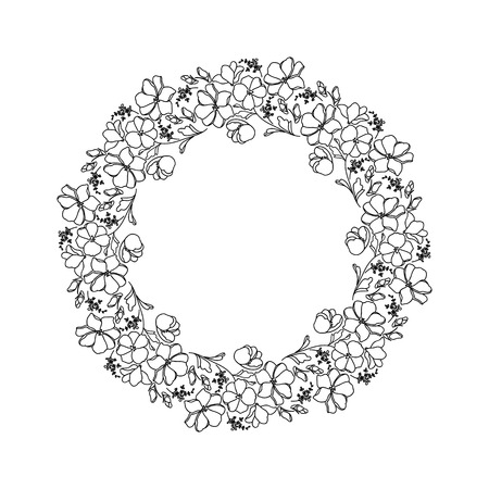 cliche: Round black and white frame with flowers.