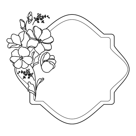 Black and white elegant frame with flowers. A decorative element with plant elements and a zone for text. Label or vignette with flowers.