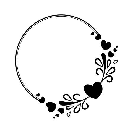 burning: Elegant black and white round frame with a silhouette of hearts and decorative elements for the design of brochures, booklets, wedding albums, invitations and other festive products.
