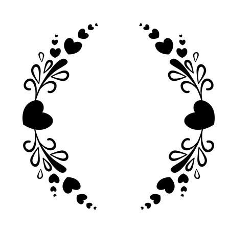 Elegant zwart-wit frame met een silhouet van harten en decoratieve elementen voor het ontwerpen van brochures, boekjes, bruiloft albums, uitnodigingen en andere feestelijke producten. Stock Illustratie
