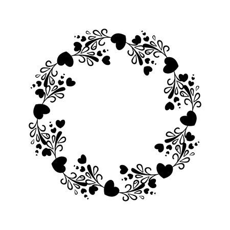 Elegant black and white round frame with a silhouette of hearts and decorative elements for the design of brochures, booklets, wedding albums, invitations and other festive products.