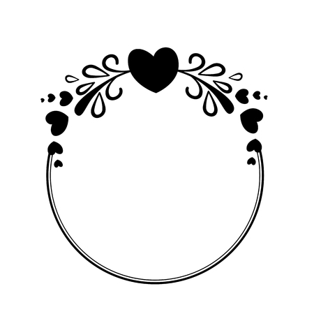 Elegant black and white round frame with a silhouette of hearts and decorative elements for the design of brochures, booklets, wedding albums, invitations and other festive products. Reklamní fotografie - 82050418