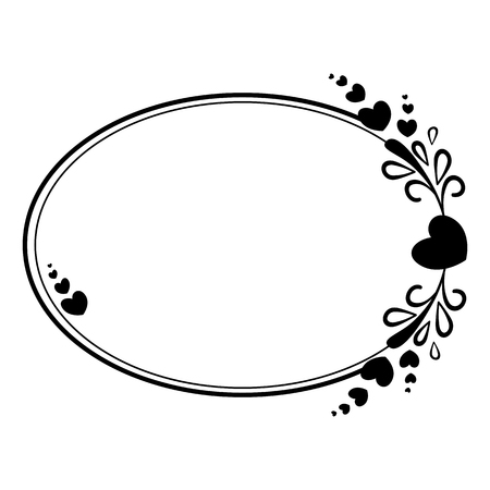 Elegant black and white oval frame with a silhouette of hearts and decorative elements for the design of brochures, booklets, wedding albums, invitations and other festive products. Illustration