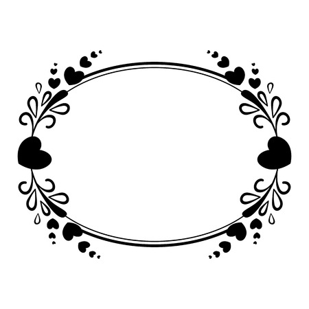 Elegant black and white oval frame with a silhouette of hearts and decorative elements for the design of brochures, booklets, wedding albums, invitations and other festive products. Çizim