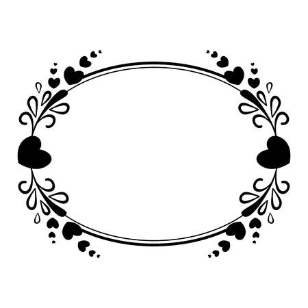 Elegante quadro oval preto e branco com uma silhueta de corações e elementos decorativos para o design de folhetos, folhetos, álbuns de casamento, convites e outros produtos festivos. Ilustración de vector