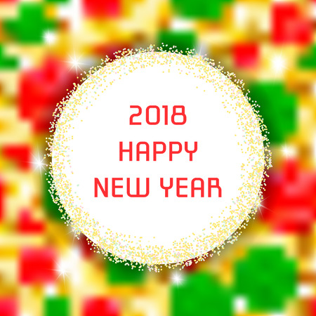 A square banner with the inscription: Happy New Year. Template for creating congratulations with Christmas.