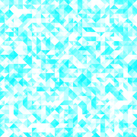 A seamless bright pattern of small triangles in blue and turquoise tones. Background for the design of the surface. Abstract geometric wallpaper.