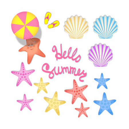 A set of color illustrations with summer souvenirs. Starfish, scallop shells, beach umbrella.