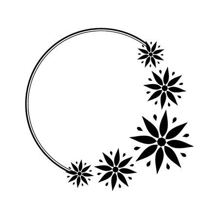 Round black and white frame with stylized flowers for the design of brochures, booklets, wedding albums, invitations and other festive products.