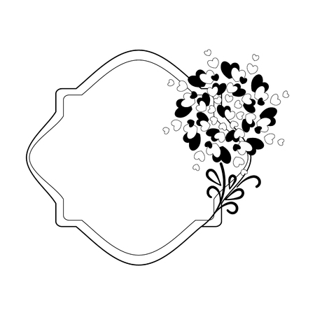Elegant black and white frame with a silhouette of hearts and decorative elements for the design of brochures, booklets, wedding albums, invitations and other festive products.