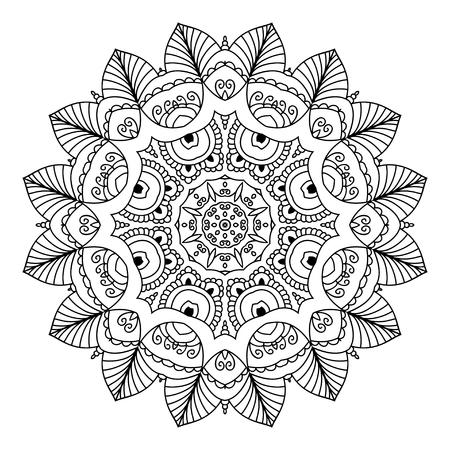 만다라. 흑백 장식 요소입니다. 채색 그림.