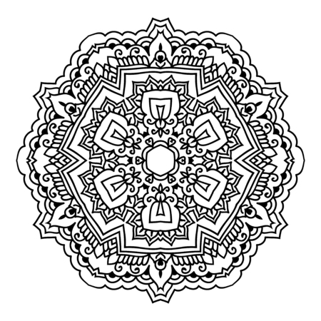 cleansing: Mandala. Black and white decorative element. Picture for coloring.
