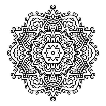 rim: Mandala. Black and white decorative element. Picture for coloring.