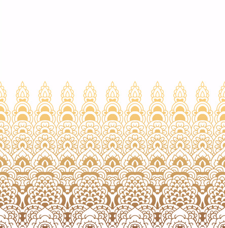 Seamless pattern of oriental ornament. Moroccan background. Lacy golden border on white background. Banco de Imagens - 83586789