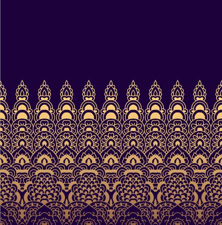 rim: Seamless pattern of oriental ornament. Moroccan background. Lacy golden border on a dark purple background. Illustration