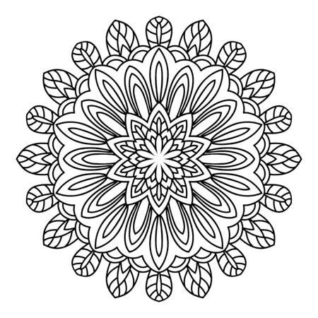 rim: Mandala. Black and white decorative element. Picture for coloring. Element of the eastern circular pattern in the form of a stylized flower.