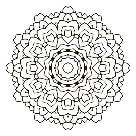 Black and white decorative mandala element for coloring Illustration