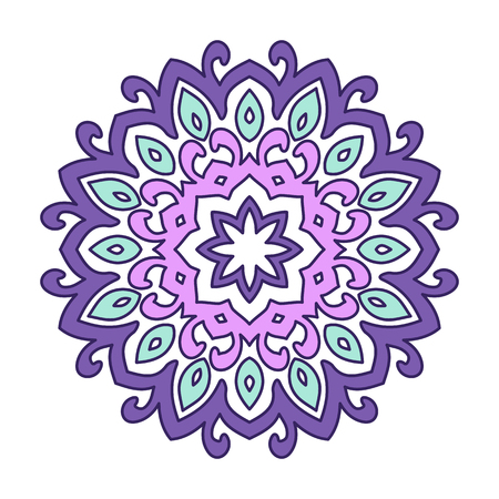 Decorative round element for creating an ornament. Purple mandala. Illustration
