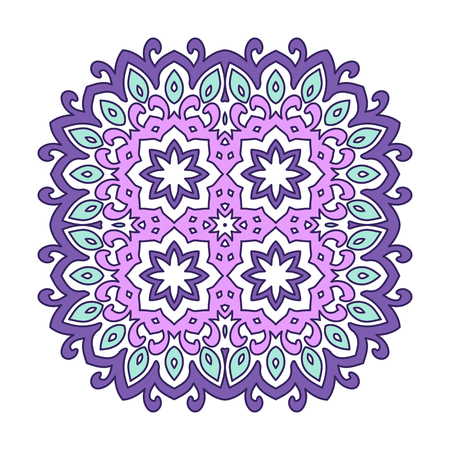 Decorative round element for creating an ornament. Purple mandala. Illustration