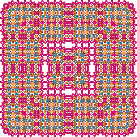 Seamless bright pattern with ethnic style. Square decorative element with ornament. Illustration