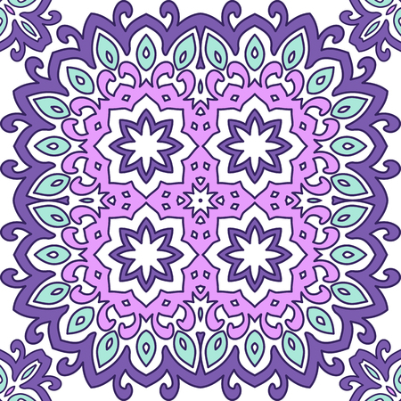 Seamless bright pattern with oriental style. Square decorative element with ornament.