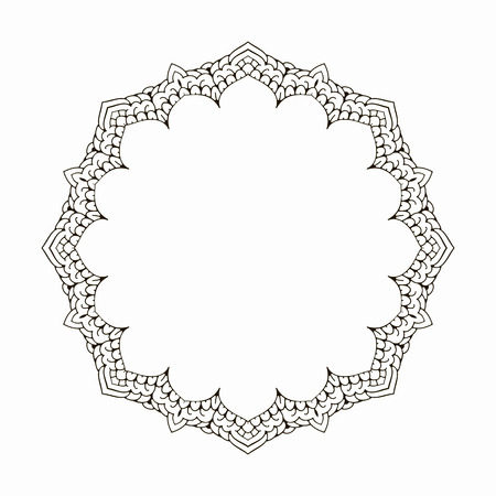 Round black frame in vintage style of flowing lines. Border for decoration postcards, logos, banners, clearance of goods and promotional products.