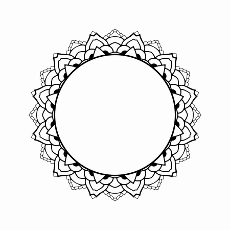 harmonic: Round black frame in vintage style of flowing lines. Border for decoration postcards, logos, banners, clearance of goods and promotional products.