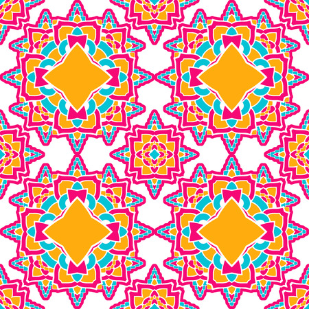 A Seamless bright pattern with ethnic style. Square decorative element with ornament. 向量圖像