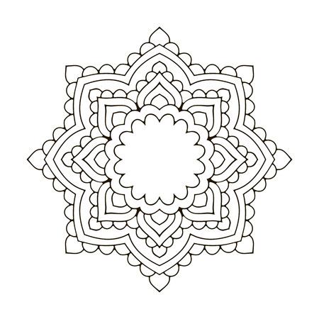 rim: Mandala. Black and white decorative element. Picture for coloring. Decorative element in oriental style. Boho ornament.