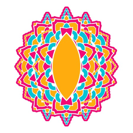 Decorative almond-shaped element with a pattern in Indian style.