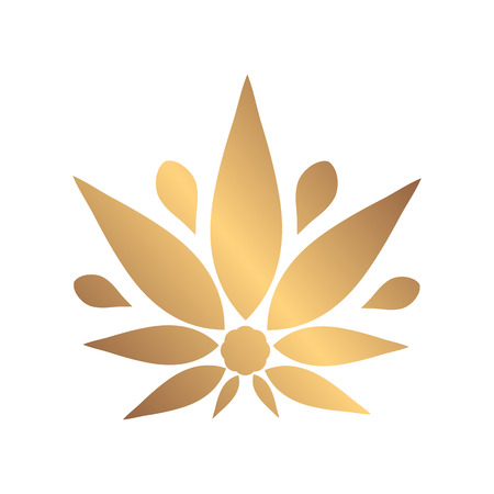 Cannabis gold silhouette logo. Hemp icons. Sign T-shirts for design, creating corporate identity and promotional products. Illustration