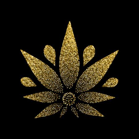 Cannabis-Gold-Silhouette-Logo. Hanf-Symbole. Unterzeichnen Sie T-Shirts für das Design, kreieren Sie Corporate Identity und Werbeartikel. Standard-Bild - 92656242