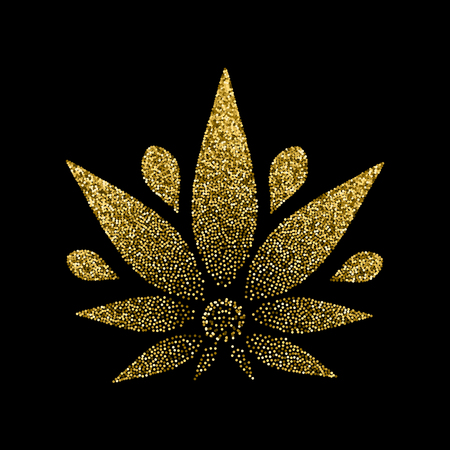 Cannabis gold silhouette logo. Hemp icons. Sign T-shirts for design, creating corporate identity and promotional products. 일러스트